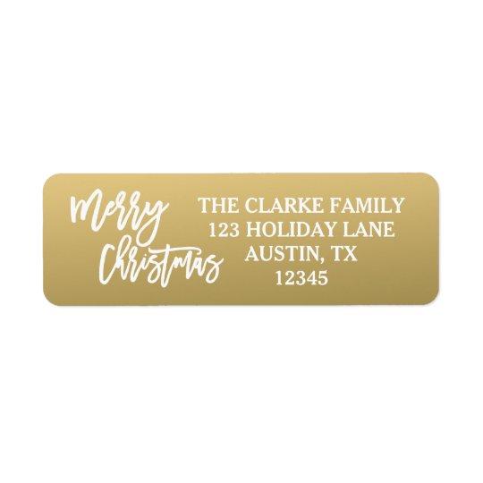 Guld- vit skrivar god julhelgdagetiketten returadress etikett