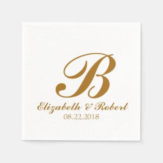 Guld- vitbröllopMonogram Pappersservett
