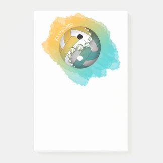 guld- yin för turkos och yang volleyboll henne som post-it block