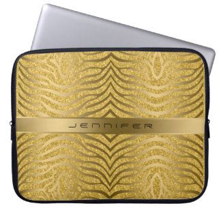 Guld- zebra ränder med guld- glitterbakgrund datorskydd