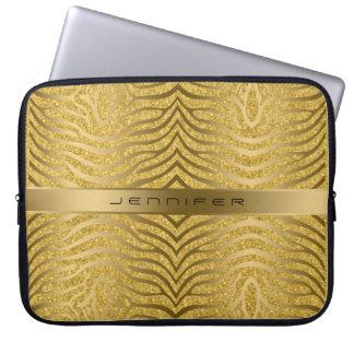 Guld- zebra ränder med guld- glitterbakgrund laptop sleeve