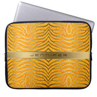 Guld- zebra ränder med orange glitterbakgrund laptop datorskydd