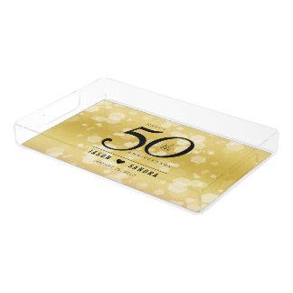 Guldbröllopårsdag för elegant 50th bricka