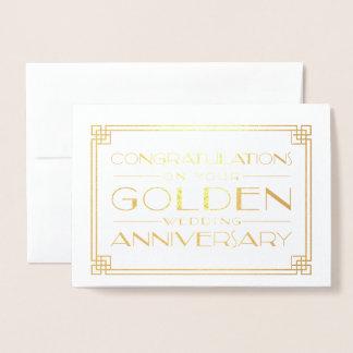 Guldbröllopårsdaggrattis Folierat Kort