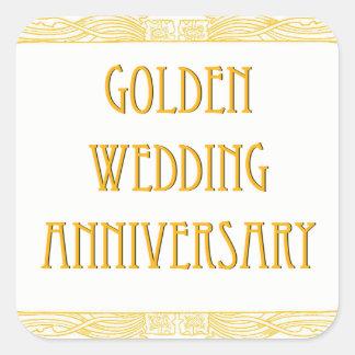 Guldbröllopårsdagklistermärkear som är glansiga fyrkantigt klistermärke