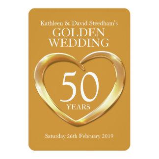 Guldbröllophjärta 50 år guld- partyinbjudan 12,7 x 17,8 cm inbjudningskort