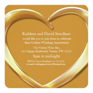 Guldbröllophjärta 50 år guld- partyinbjudan fyrkantigt 13,3 cm inbjudningskort