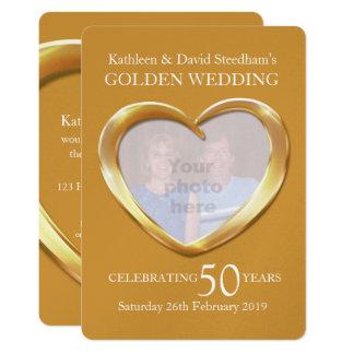 Guldbröllophjärtafoto 50 år partyinbjudan 12,7 x 17,8 cm inbjudningskort