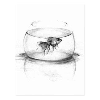 Guldfisken i en bunke ritar konstvykortet vykort