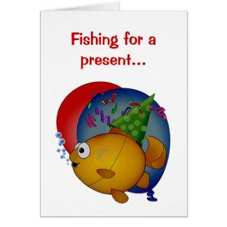 Guldfiskfödelsedagsfest. Fiska för ett närvarande… Hälsningskort