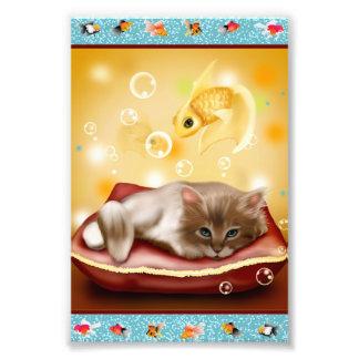 Guldfiskramen med den fluffiga sömniga kattungen fototryck