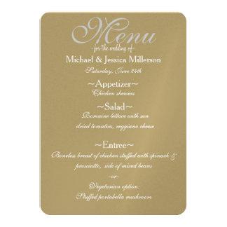 Guldkräm och meny för vitQuatrefoil bröllop 11,4 X 15,9 Cm Inbjudningskort