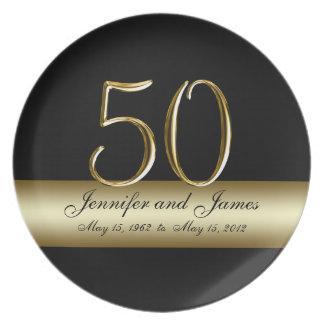 Guldsvarten skrivev ut 50th bröllopsdagtallrikar fest tallrikar