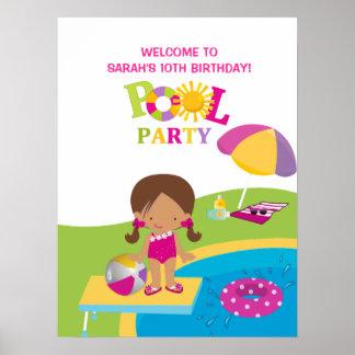 Gullig affisch för födelsedag för flickabassängpar poster