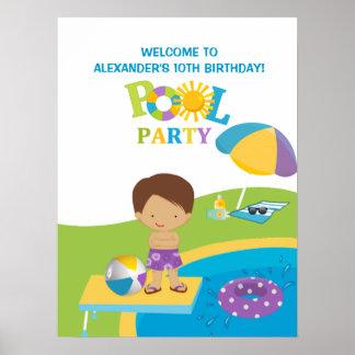 Gullig affisch för födelsedag för pojkebassängpart poster
