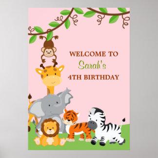 Gullig affisch för födelsedagsfest för Safaridjung Poster