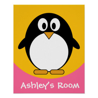 gullig affisch för pingvinbarndörr