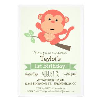 Gullig apa, djur barnfödelsedagsfest för djungel 12,7 x 17,8 cm inbjudningskort