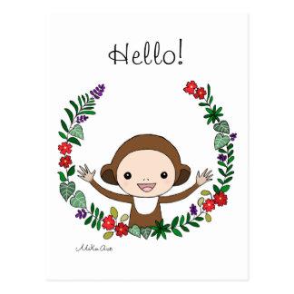 Gullig apa för apahejvykort med blommakonst vykort