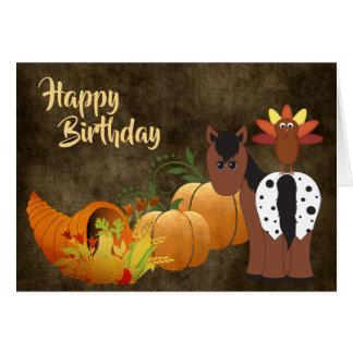 Gullig Appaloosahäst och Turkiet höstfödelsedag Hälsningskort