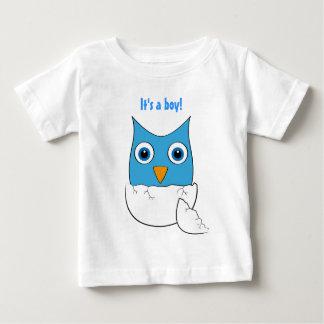 """Gullig baby med hjärtfeluggla - """"är det en pojke tee shirt"""
