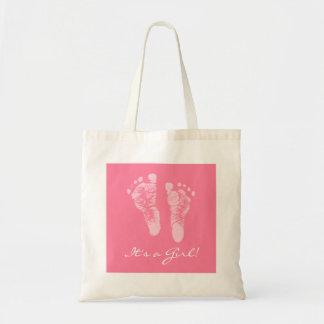 Gullig baby shower dess fotspår för en flickarosab kasse