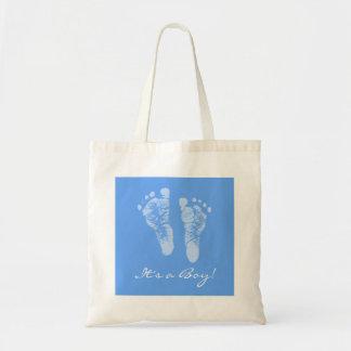 Gullig baby shower dess fotspår för en pojkebaby m tygkasse
