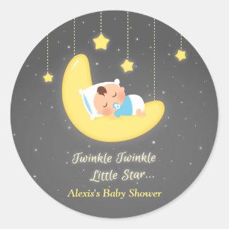 Gullig baby shower för stjärna för glimtglimt lite runt klistermärke