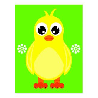 Gullig babychicktecknad vykort