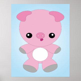 Gullig babygrisaffisch poster