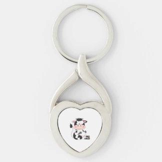 Gullig babykotecknad twisted heart silverfärgad nyckelring