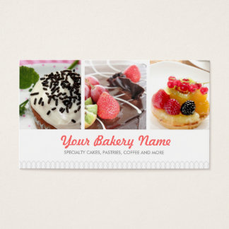 Gullig bagerivisitkort med 4 foto visitkort