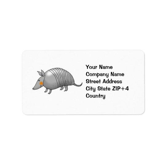 Gullig bältdjur adressetikett