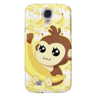 Gullig banan för Kawaii apainnehav Galaxy S4 Fodral