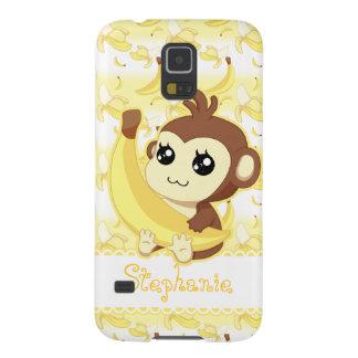 Gullig banan för Kawaii apainnehav Galaxy S5 Fodral