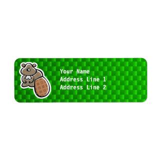 Gullig bäver; Grönt Returadress Etikett