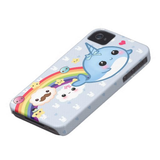 Gullig bebis som är narwhal med regnbågen, moln oc Case-Mate iPhone 4 skal