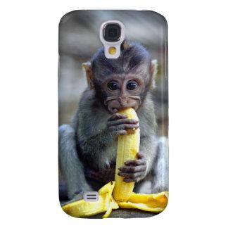 Gullig bebismacaqueapa som äter bananen galaxy s4 fodral