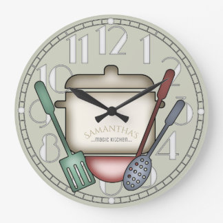 Gullig beställnings- färg för matlagningkruka- och stor klocka