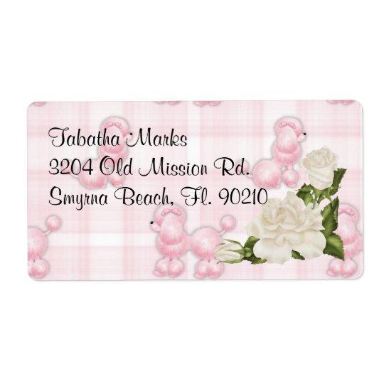 Gullig beställnings- rosa pudeladressetiketter fraktsedel