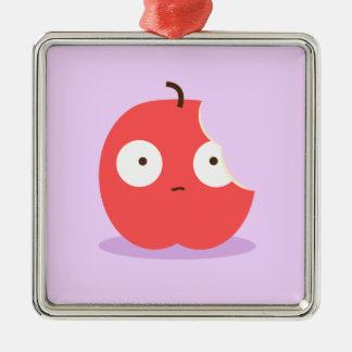 Gullig biten röd tecknad Apple med rosa bakgrund Julgransprydnad Metall