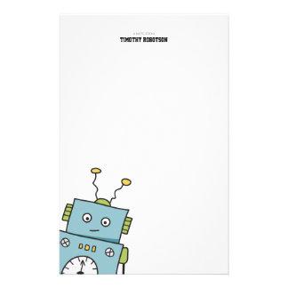 Gullig blåtthand plockaderobot brevpapper