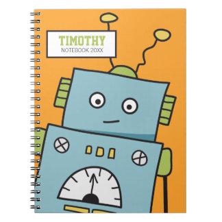 Gullig blåttrobot med personlignamn anteckningsbok