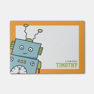 Gullig blåttrobot med personlignamn kom ihåg block