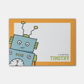 Gullig blåttrobot med personlignamn post-it block