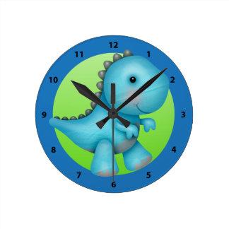 Gullig blåttStegosaurusDinosaur Rund Klocka