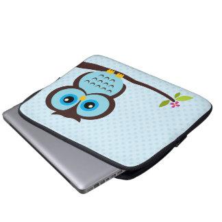 Gullig blåttuggla laptopfodral