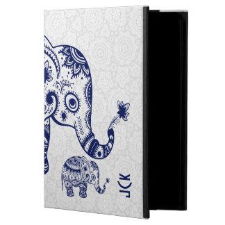 Gullig blom- elefant i marinblått fodral för iPad air