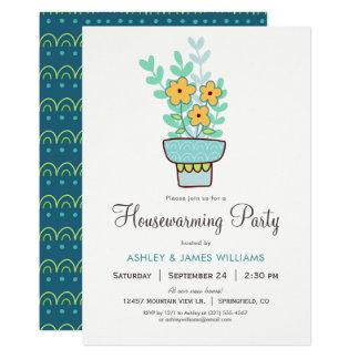 Gullig blom- inflyttnings- partyinbjudan 12,7 x 17,8 cm inbjudningskort