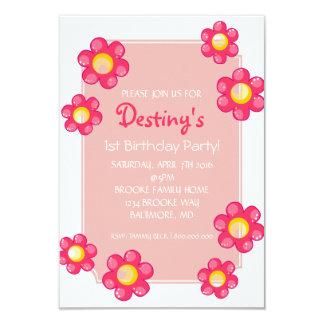 Gullig blomma |whi för födelsedagsfestinbjudan | 8,9 x 12,7 cm inbjudningskort